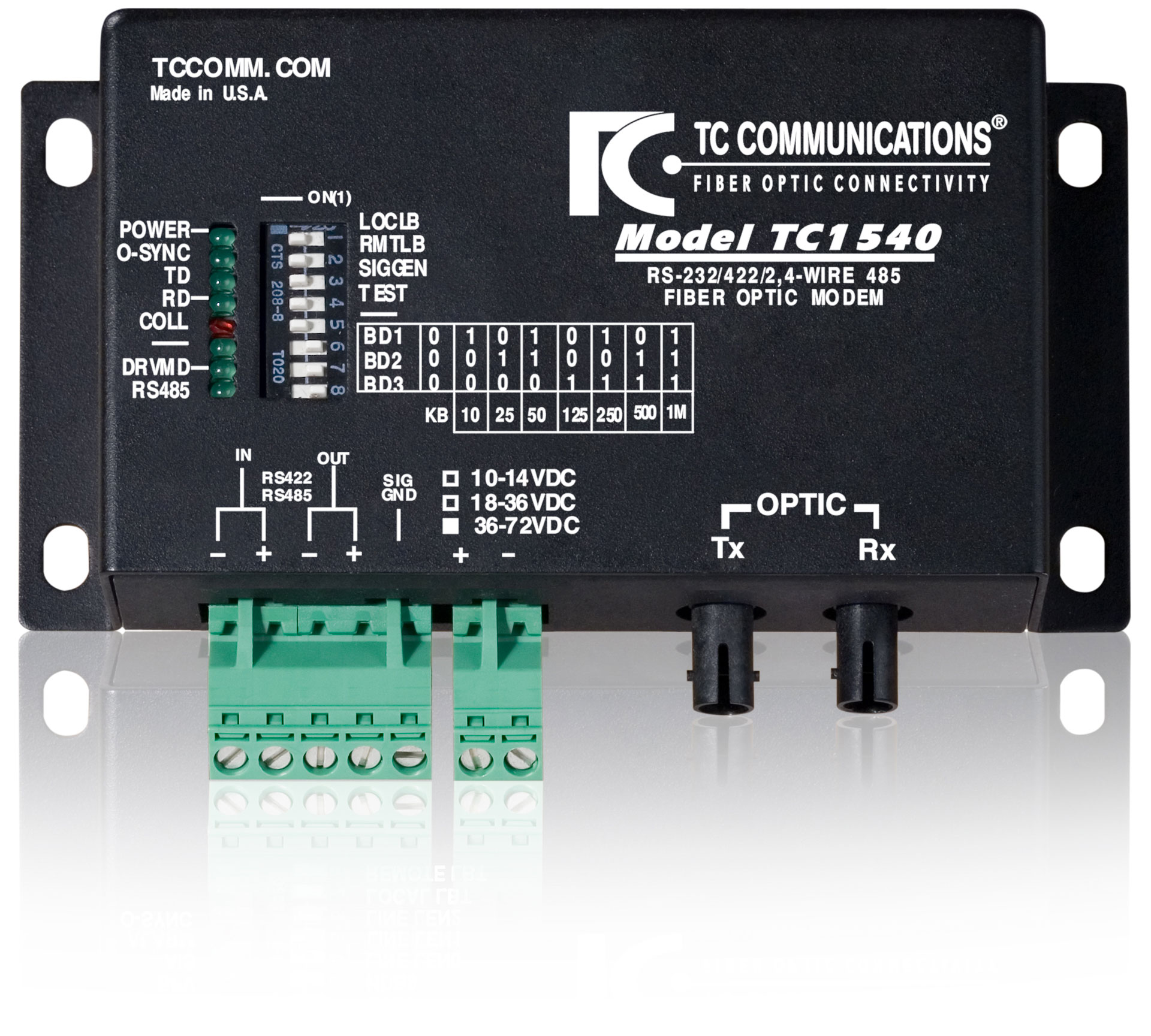 TC1540 Multi-Interface Async Fiber Optic Modem - TC Communications