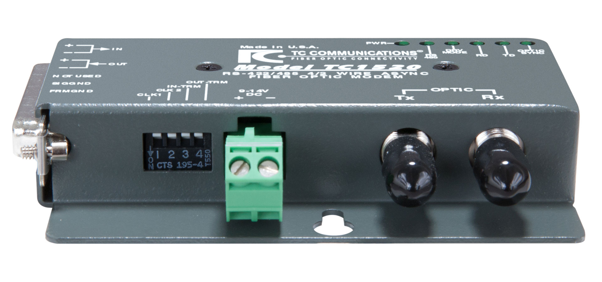 Tc1520 Rs 422 485 Fiber Optic Modem Tc Communications Rs485 2 Wire Diagram Front View Back